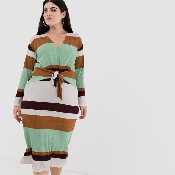 564c0b608e1 ASOS Curve Dresses   Skirts - ASOS DESIGN 70s stripe rib midi dress w knot